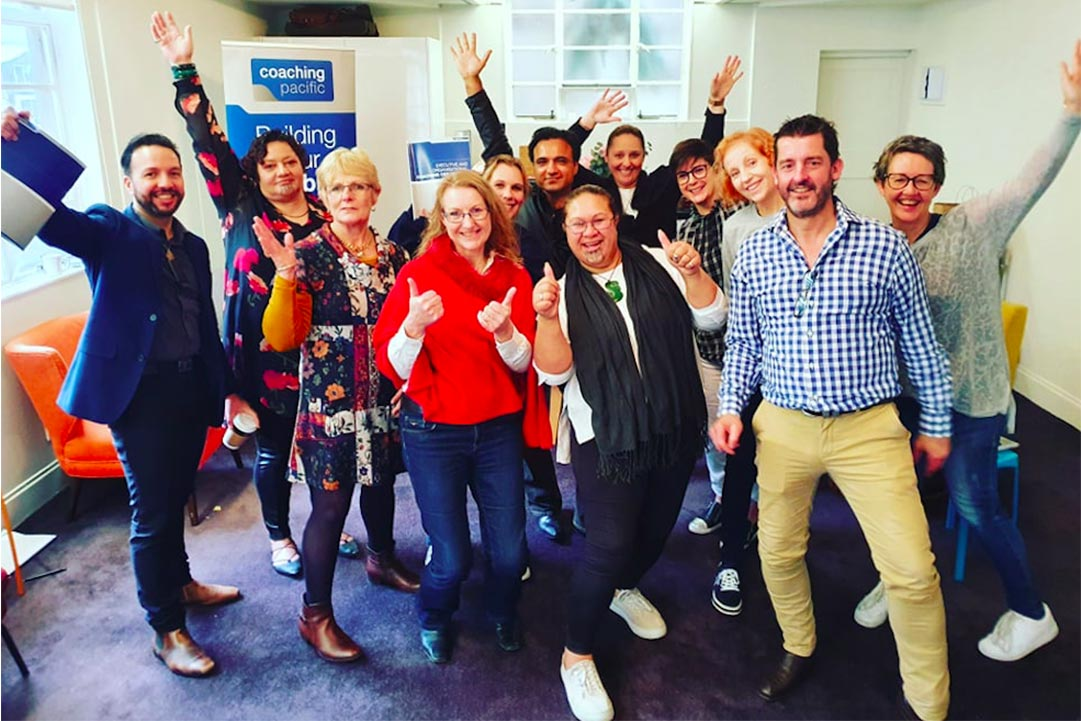 The latest Coaching Pacific class celebrating completing their coaching course